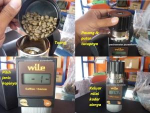 cara pemakaian alat ukur kadar air kopi
